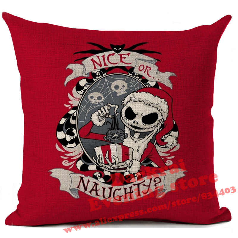 Halloween Cartoon Skull Jack Cushion Cover Nightmare Before Christmas Decor  Throw Pillows Car Sofa Home Decorative Pillow Case