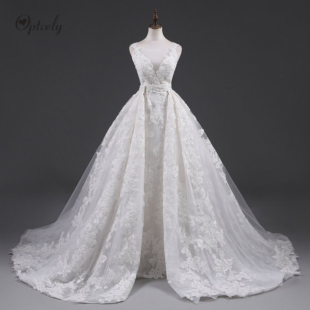 Optcely New Arrivals Sexy Mermaid Sleeveless Robe De Mariee Real Photo Button Ivory Wedding Dress Appliques Beaded Sweep Trains