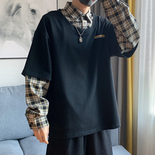 Autumn New Cotton Hoodies Men Fashion Plaid Stitching Fake Two-piece Sweatshirt Man Hoody Streetwear Wild Loose Hip Hop Hoodie
