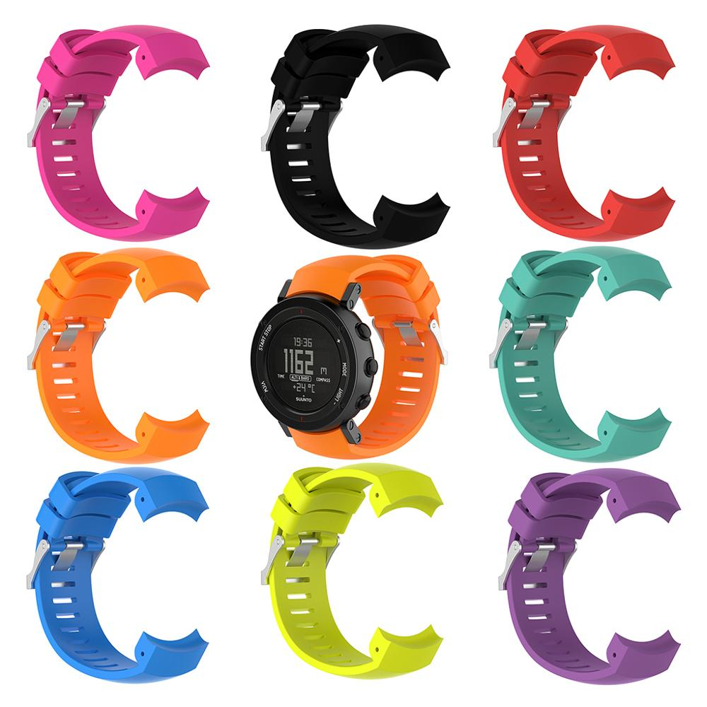 Silicone Replacement Wrist Band Strap For SUUNTO Core ALU Black Sports GPS Watch(China)