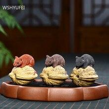 Purple Clay Tea Pet Lovely Squirrel Model Statue Decoration Handmade Tea Ceremony Accessories Home Desktop Decor Crafts