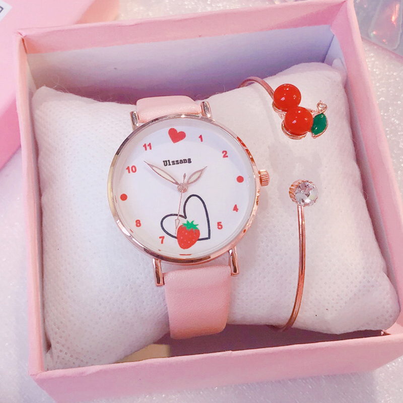 Watch Girls Strawberry Love Kids Watches Leather Strap Cute Children's Wristwatches Cherry Bracelet Gifts For Kids Girl Ulzzang