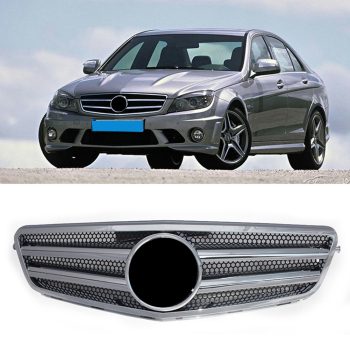Car Front Grille 2-Pin Mesh ABS Racing Grill For 2007-2014 Mercedes-Benz W204 C-Class C300 C280 C200 C350 Chrome with Emblem image