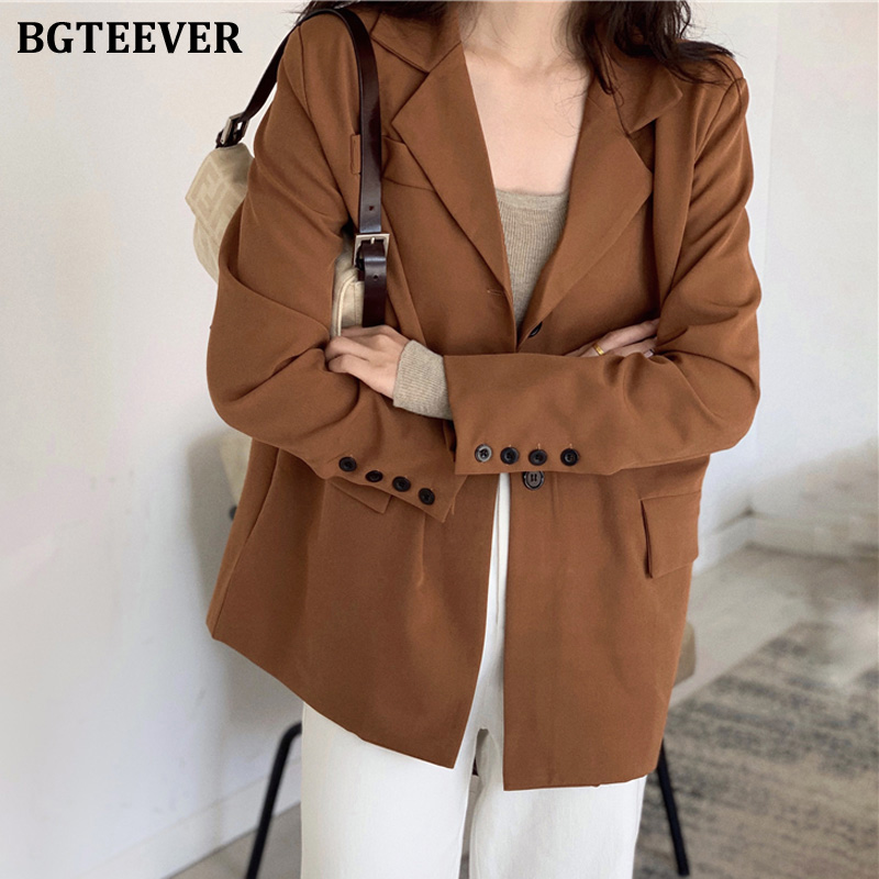 BGTEEVER Casual One Button Women Blazer Solid Double-breasted Women Suit Jacket Loose Female Outwear Blaser Femininas 2019