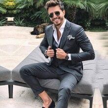 Grey Men Suits For Wedding trajes para hombre suits men Custom Made 3 Pieces Jacket+vest+Pants Prom Party Gowns Suit Man