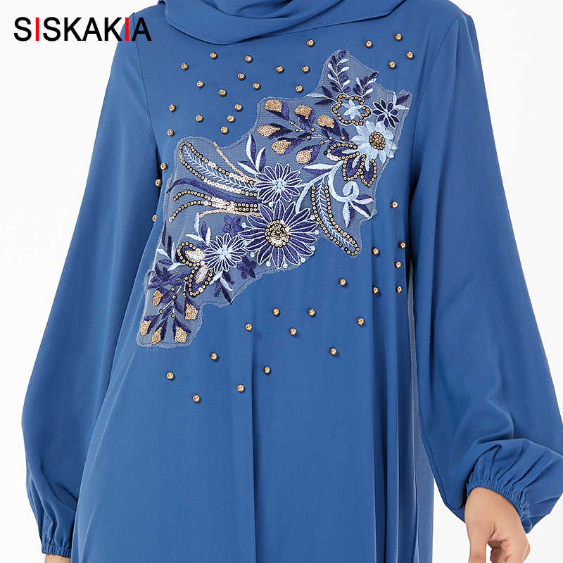 Siskakia Hồi Giáo Abaya Đầm Plus Kích Thước Thêu Hoa Màu Xanh Đính Hạt Cườm Đính Hạt Áo Dài Tay Phồng Hai Lớp Xù Thiết Kế
