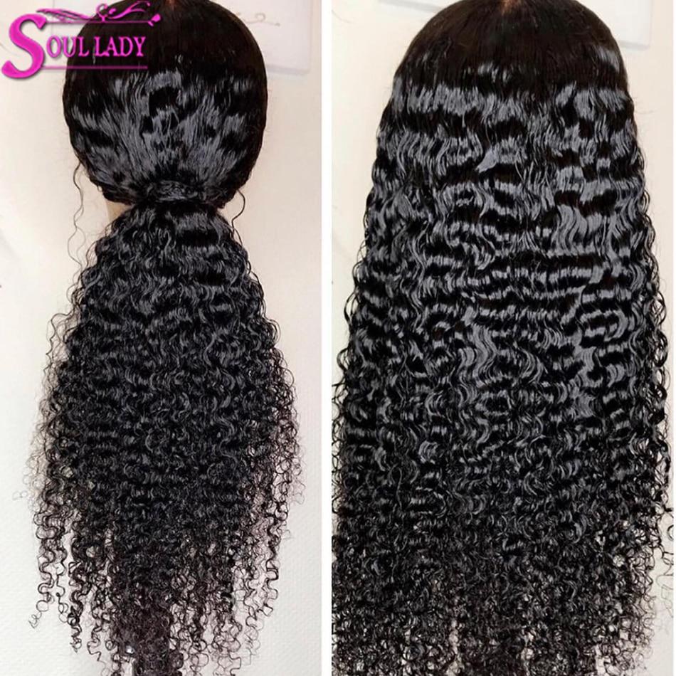 Soul Lady 360 peluca Frontal de encaje Pre desplumado con pelo de bebé 150% densidad Remy brasileño rizado cabello humano pelucas para las mujeres negras - 2