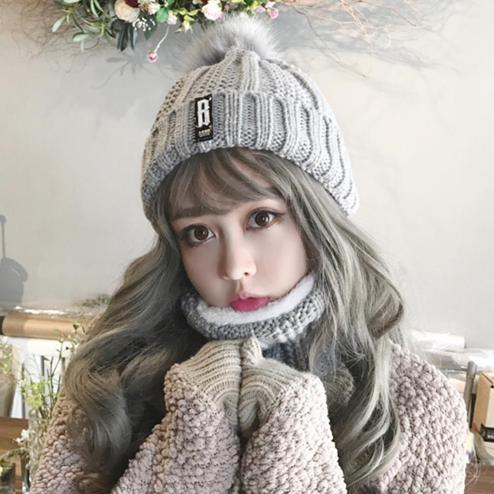 Soft Warm Knitted Hat With Scarf Winter Warm Ladies Hat & Scarf Stretch Hats For Women Girls Two Piece Set Ear Protection