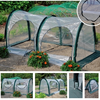 Two Meters Conjoined PE Garden Keep Warm Tunneling Tent Movable Plant Canopy Succulents Flowers Water-proof Ventilate Greenhouse