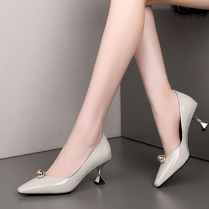 Mirror Genuine Leather Women's Shoes Square Head Bead Decorative Shallow Mouth Single Shoes Fashion Four Seasons Ladies Shoes