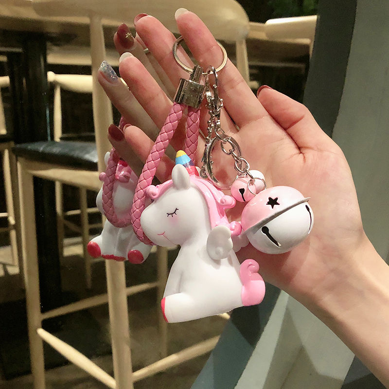 Will Ring Rainbow PVC Animal Unicorn Fur Keychain For Men Women Bag Ornament Phone Key Chain Porte Clef Keyring Bag Decoration