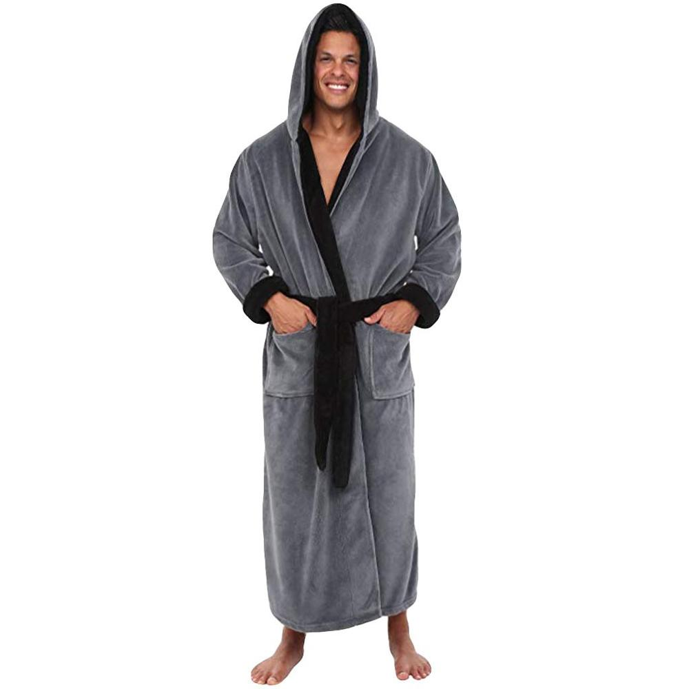Plus Size Men's Winter Lengthened Plush Shawl Bathrobe Homewear Clothes Male Solid Color Long Sleeved Robe Coat With Hooded