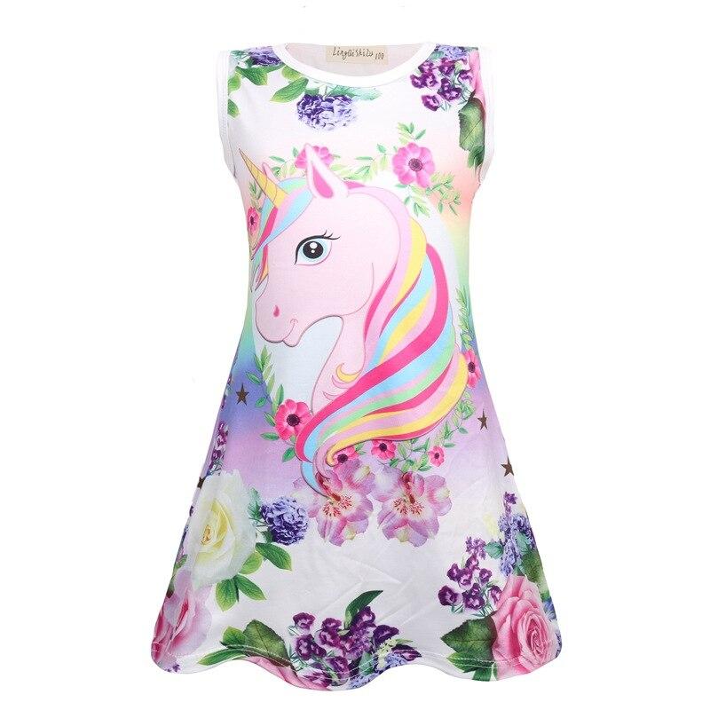 Kids Vests Dresses For Girls Clothing Children Cartoon Sleeping Dress Summer Nightwear Baby Pajamas 2 3 4 5 6 7 8 9 10 Years