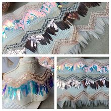 Exquisite Sequin Embroidery Fringed Lace Ribbon DIY Performance Clothing Dress Skirt Stitching Jewelry Home Curtain Material dragonfly embroidery sequin skirt