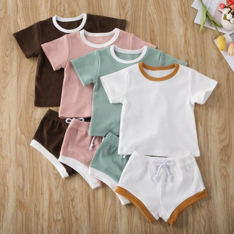 Baby Boy Girls Summer Clothing Ribbed Short Sleeve T-Shirt Tops Drawstring Shorts Pants Pajamas Outfits Set