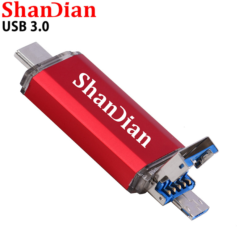 SHANDIAN OTG 3 In 1 USB Flash Drives USB3.0 & Type-C & Micro USB 128GB 64GB 32GB 16GB 8GB 4GB Pendrives Dual Pen Drive Cle USB