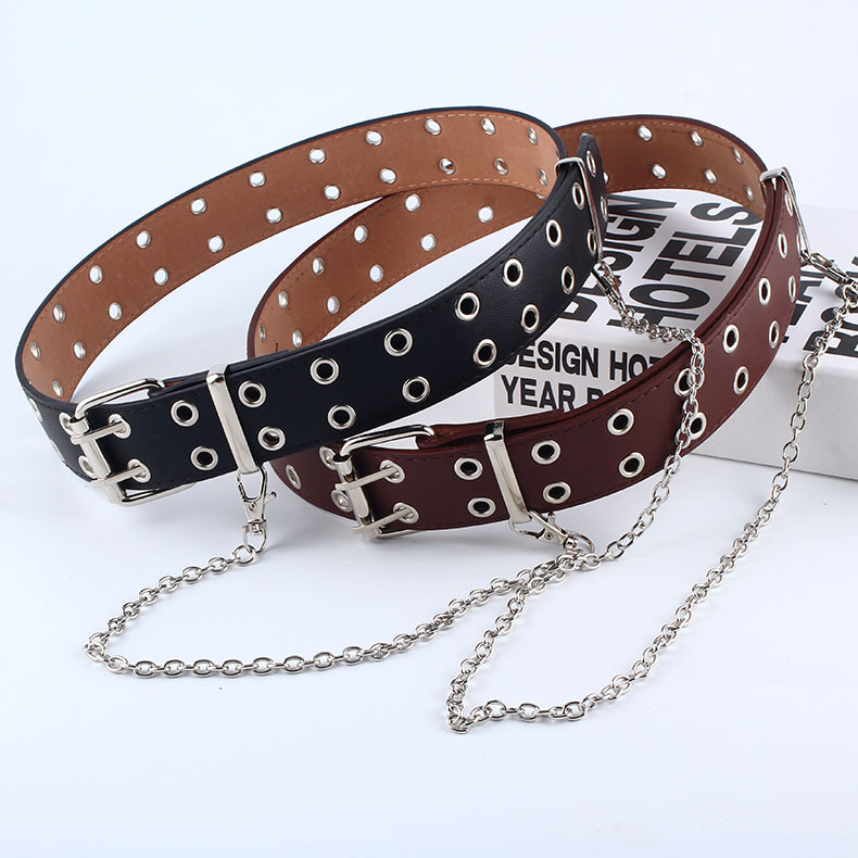 NEW Women Punk Chain Belt For Jeans Female Female Luxury Brand Designer Belts Ladies High Quality Leather Waist Straps For Dress