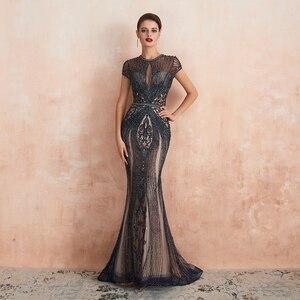 Image 5 - Champagne gris lujo sirena con cuentas de cristal vestidos de noche 2019 nuevo azul marino cuello redondo mangas cortas Formal vestidos largos de fiesta