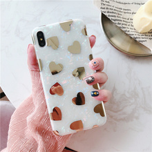 Bling glitter conch phone shell for iphone xr xs max x laser plating gold love hearts marble case 7plus 7 6 s 8 plus