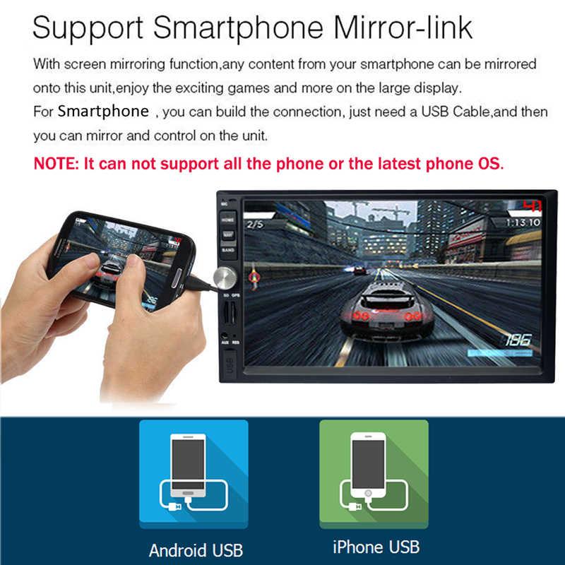 YuanTing ダブルディンカーステレオ受信機 7 インチのタッチスクリーンダッシュオーディオビデオプレーヤー Bluetooth FM ラジオ MP5 USB & バックアップカメラ