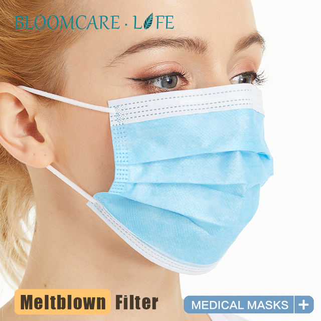 ship in 24 hours【Bloomcare】 Anti Flu Disposable three-layer protective masks bacteria face dust-proof safety masks 1