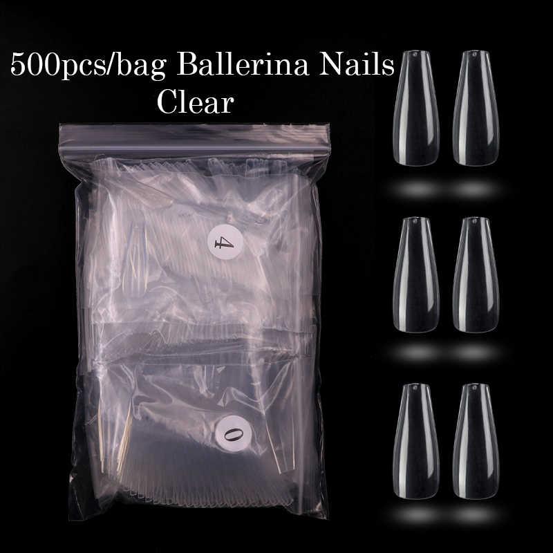 500/600pcs ปลอมโลงศพเล็บอะคริลิค Ballerina Full COVER เล็บปลอมเล็บธรรมชาติล้างเล็บใช้กับกาวเล็บ