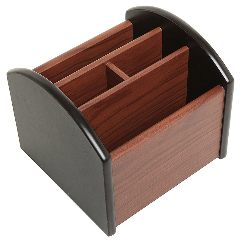 Revolving Wooden 4 Compartment Desktop Office Supplies Storage Organizer / Spinning Remote Control Caddy