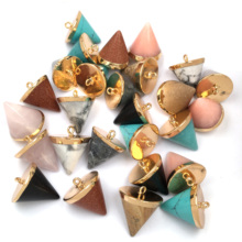 LE SKY New Fashion Crystal Pendant & Necklace Cone Shape Natural Stone Pendants for Jewelry Making Supplies Fine 20x24mm