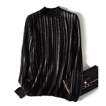 SHUCHAN Designer Women Sweater 2019 High Quality Hollow Out Wool Blend Street Striped O-Neck Sweaters, Pullovers