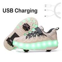 28-40 Детская светящаяся обувь, кроссовки с двумя колесами, светодиодный светильник, спортивные роликовые коньки для детей, мальчиков и девочек, светодиодная обувь
