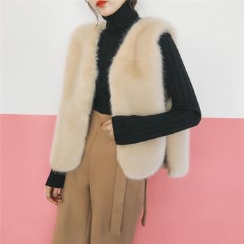 Plush Vest Fur Coat Womens Fleece Vests Fourrure Sans Manches Gilet Femme Short Fourrure Winter Padded Manteau Waistcoat Tops фото