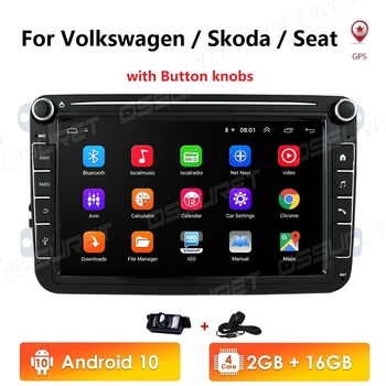 Android 10 2G+16GB 2 Din Car radio Multimedia Player GPS Stereo For Volkswagen Skoda Seat Octavia golf 5 6 touran passat B6 polo image