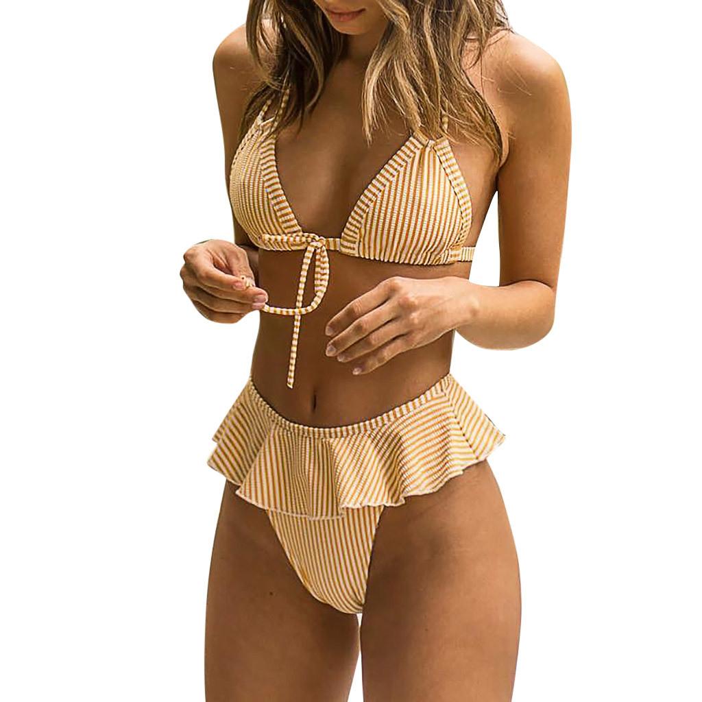 Women Sexy Two Piece Swimsuit Fashion Summer Ruffles Bikini Push-Up Pad Swimwear Striped Swimsuit Bathing Beachwear Set#Y20 1