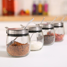 цена на Lead-free glass bottle, stainless steel spoon and lid seasoning jar,Spice jar,Kitchen seasoning jar