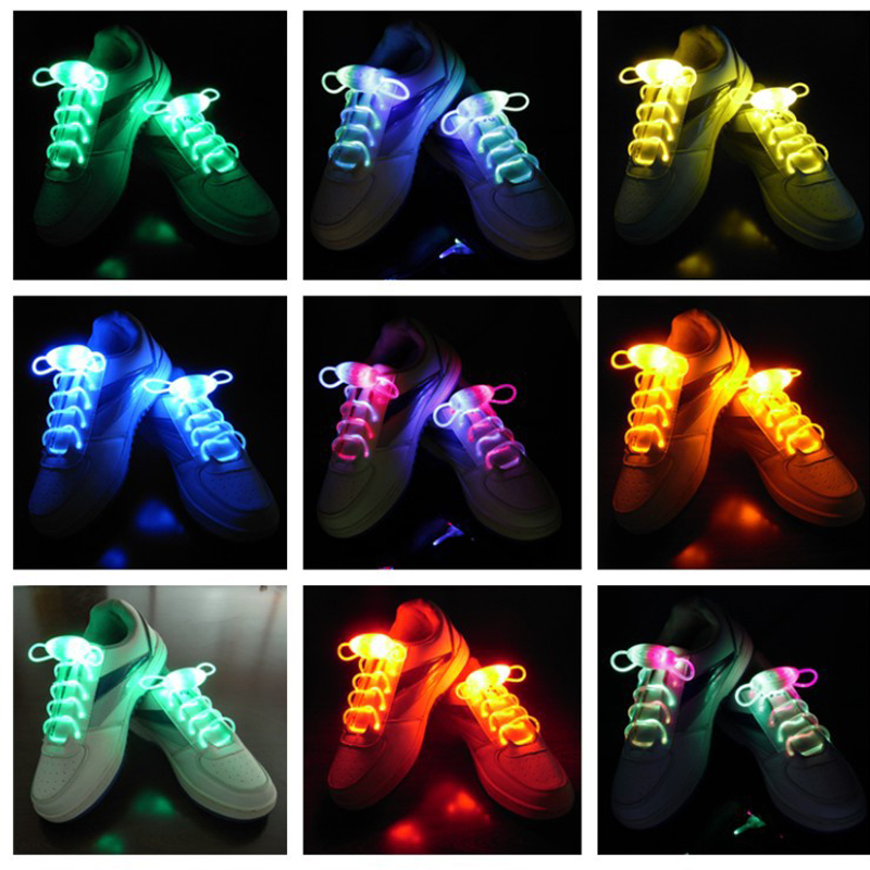 LED Shoe Laces Flash Light Up Colors Glow Strap Flashing Shoelaces Party Cool
