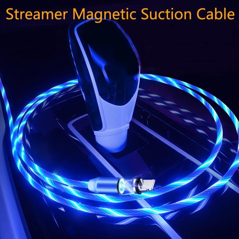 Car Charging Cable LED Luminous Magnetic USB Cable For Hyundai Solaris Accent I30 Ix35 I20 Elantra Santa Fe Tucson Getz