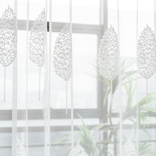 Modern Floral Tulle Curtains for living room White Leaves Sheer voile Bedroom Kitchen Window
