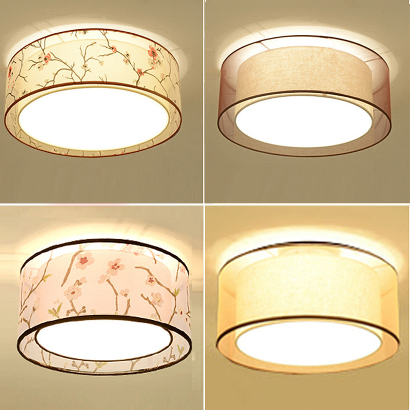 New Chinese Style Ceiling Lamp Circle Bedroom Lamp LED Square Living Room Lights Warm Minimalist Modern Ultra-Thin Fabric Lamps