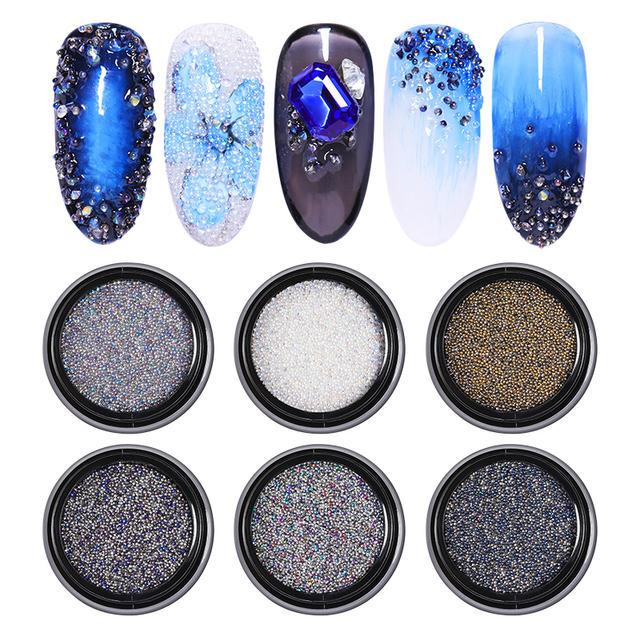 1 Box Mini Beads Nail Glitter Rhinestone Sharp Bottom Mixed Size DIY Crystal Rhinestones For Nail Tips 3D Nail Art Decoration