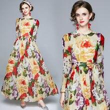 Женское длинное платье с цветочным принтом zuoman элегантное