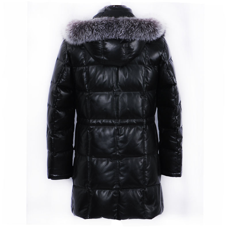 Geniune Leather Jacket Men Sheepskin Leather Goose Down Jacket Winter Warm Thickening Casaca 14-H07B# MF374