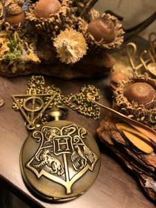 Pendant-Chain Pocket-Watch Necklace Gifts-Accessory Hogwarts Bronze Analog Retro H-Quartz