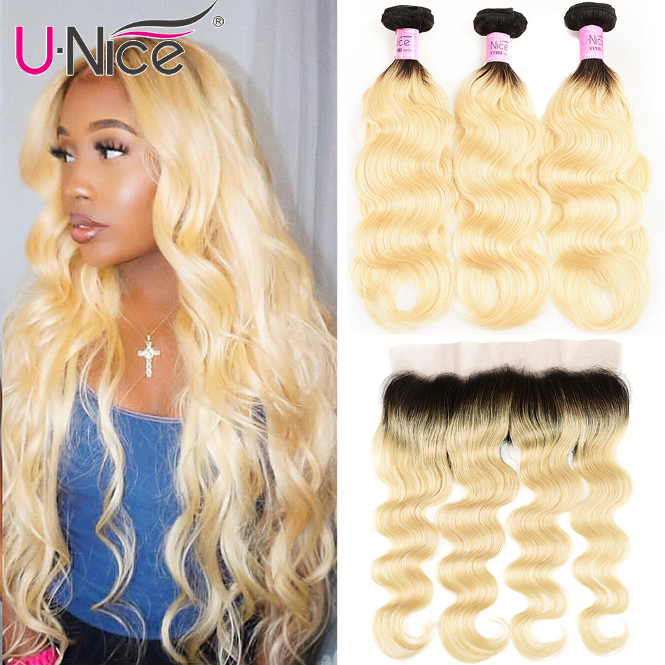 Unice Hair Brazilian Human Hair 2 Tone Dark Roots Ombre Blonde Hair 3 Bundles With Lace Closure 1B/613 Body Wave Color Hair Weft
