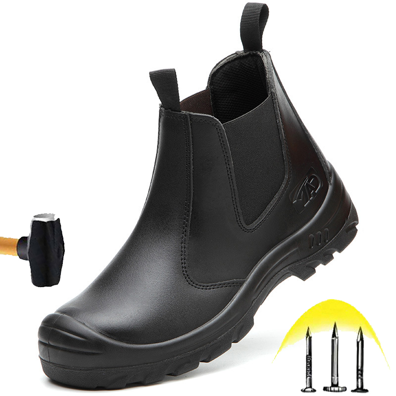 New Style Leather Safety Shoes 2020 Autumn Winter Men's Steel Toe Cap Fashion Work Boots Waterproof Anti-scald Protective Shoes image