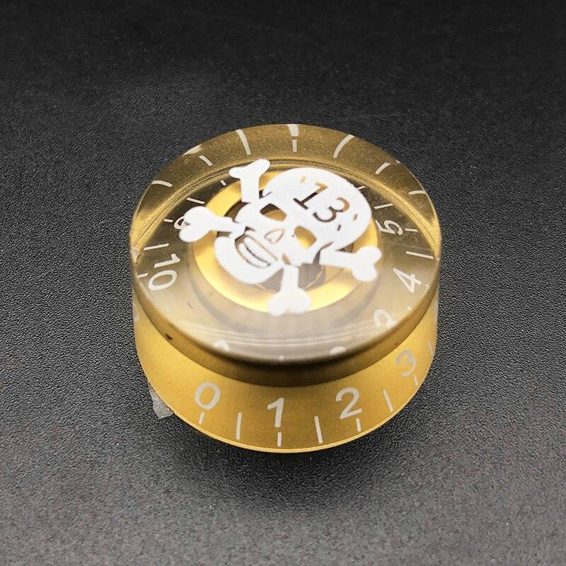 Gold 4pcs Skull Print Head LP Electric Guitar Tone Volume Control Knob Cap Control Buttons