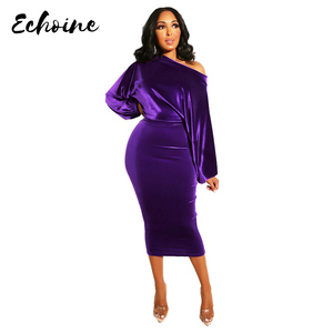 Image 1 - Women New 2020 Spring Winter Off Shoulder Long Sleeve High Waist Velvet Bodycon Dress Office Lady Pencil Party Dresses 5 Colors