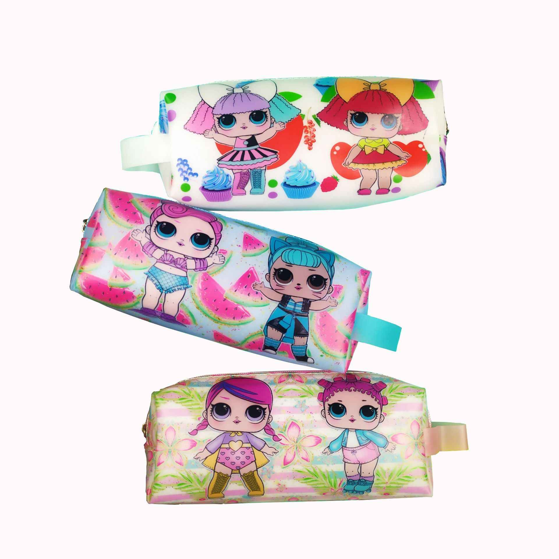 Creative jelly glue LOL surprise doll girl green print large capacity pencil bag student stationery bag pencil bag pen case