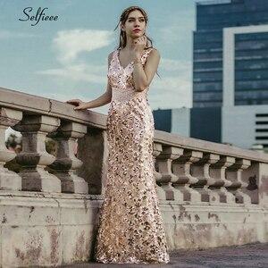 Image 1 - Блестящие женские платья с блестками, длинные летние платья русалка без рукавов с v образным вырезом, элегантные вечерние платья 2020