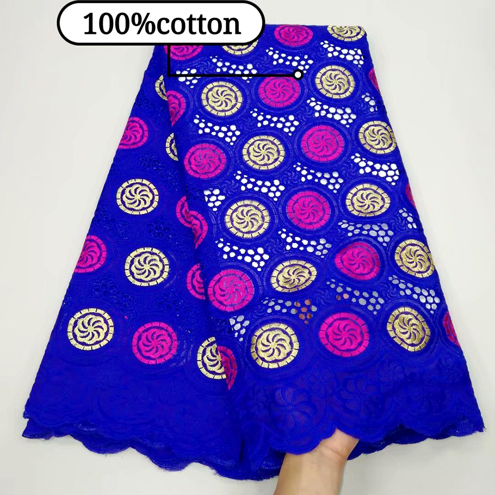Latest African Lace Fabrics Royal Blue High Quality Lace For Men Women Cotton Dry Lace Fabric Swiss Voile Lace In Switzerland
