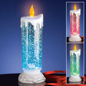 Rechargeable Colour Electronic LED Waterproof Candle With Glitter Colour Changing LED Water Candle Table Lamps